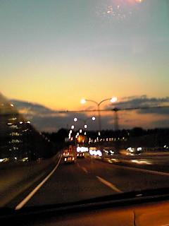 車からの夕焼け