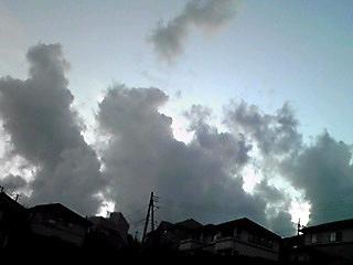 見上げた夕空に曇たちの競演!
