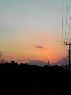 今日の夕日、夕焼け色〜!