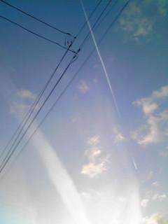 昨日の夕空・飛行機雲